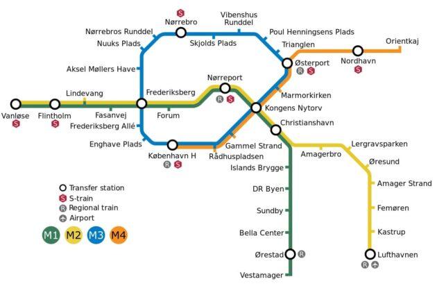 Copenhague carte du métro