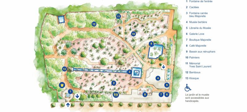 Plan Jardin Majorelle, Marrakech