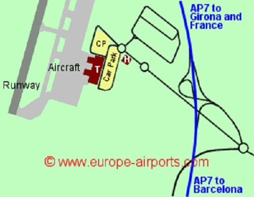 Plan des parkings de l'aéroport de Gérone