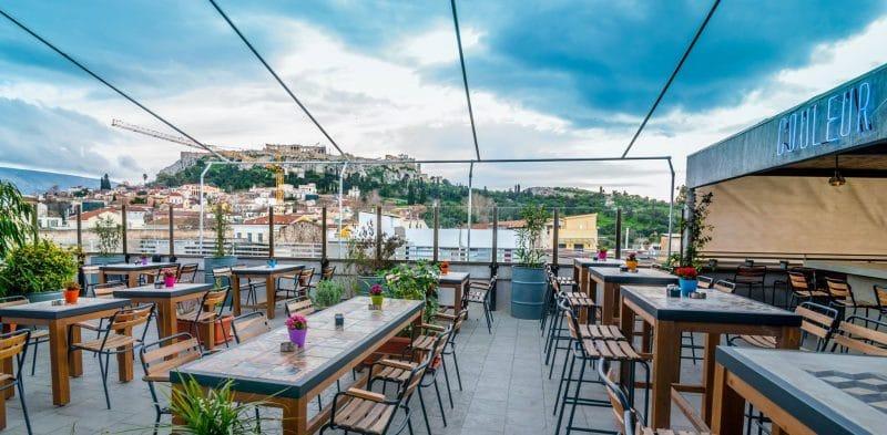 Bar Couleur locale, rooftop, Athènes