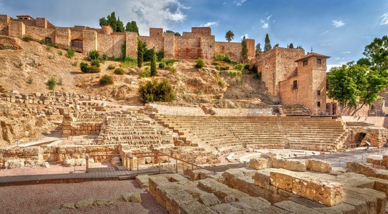 Le palais Alcazaba et le château de Gibralfaro, Malaga