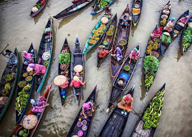 Marché flottant de Banjarmasin, Borneo