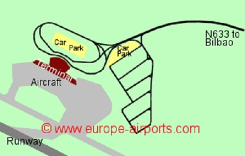 Plan des parkings de l'aéroport de Bilbao