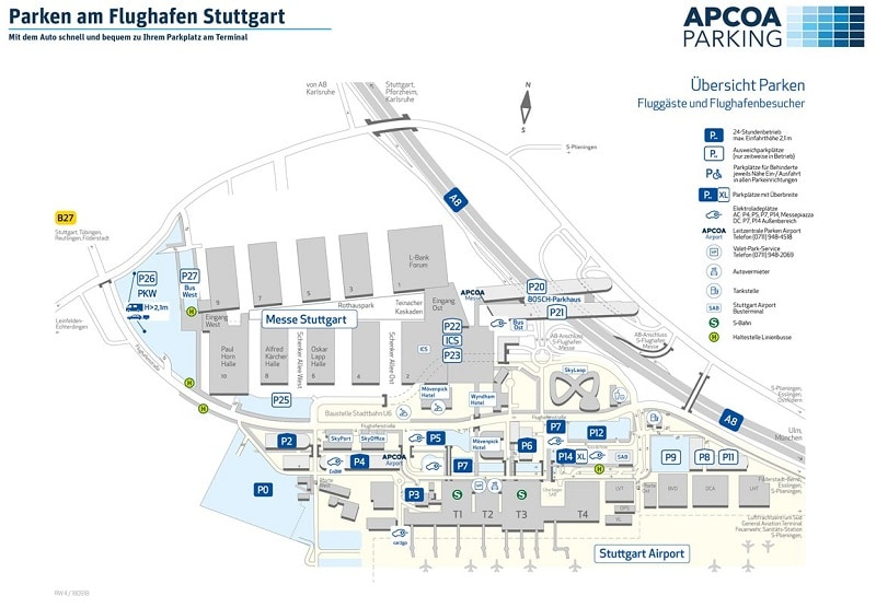 Plan des parkings de l'aéroport de Stuttgart