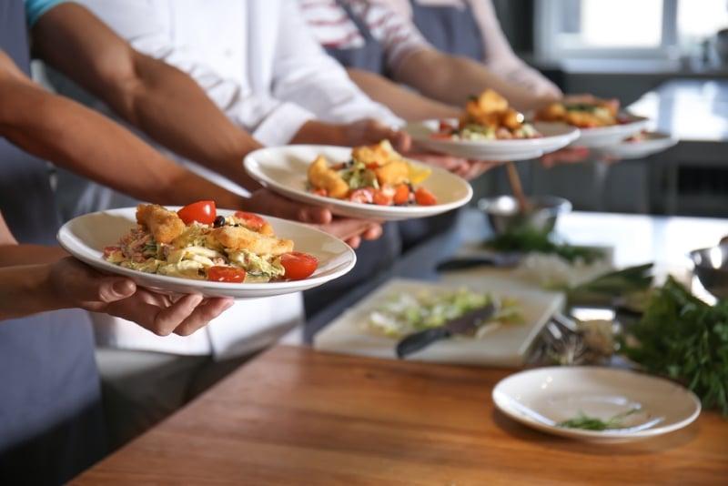 assiettes apres un cours de cuisine
