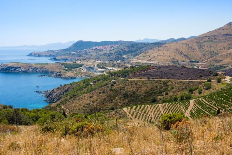 Faire du VTT dans en Catalogne dans les Pyrénées - vue sur Banyuls avec la mer
