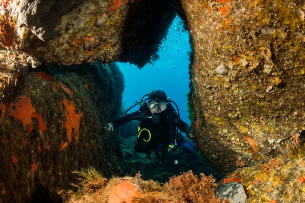 Femme qui fait de la plongee sous marine
