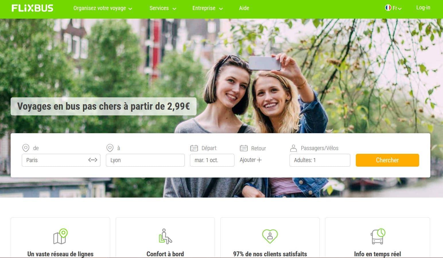 Flixbus page accueil