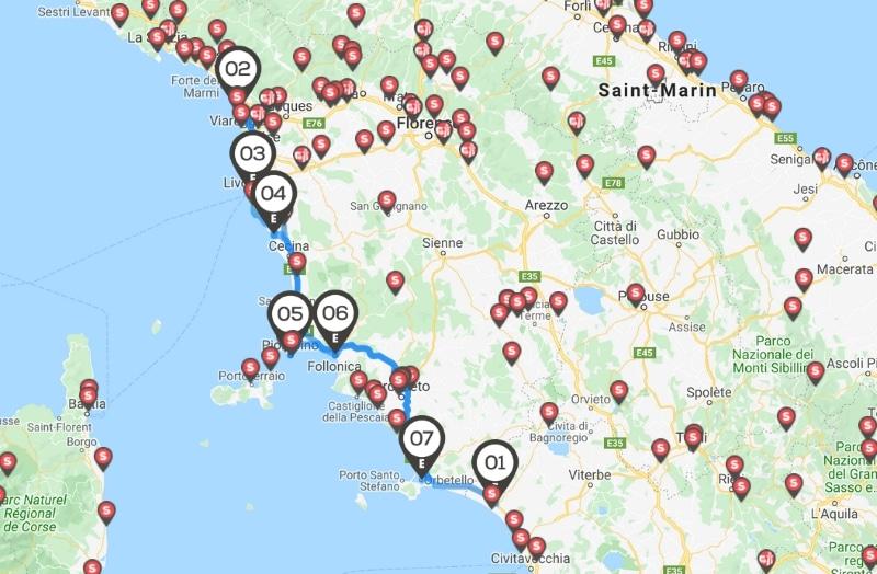 italie itinéraire de la cote toscane