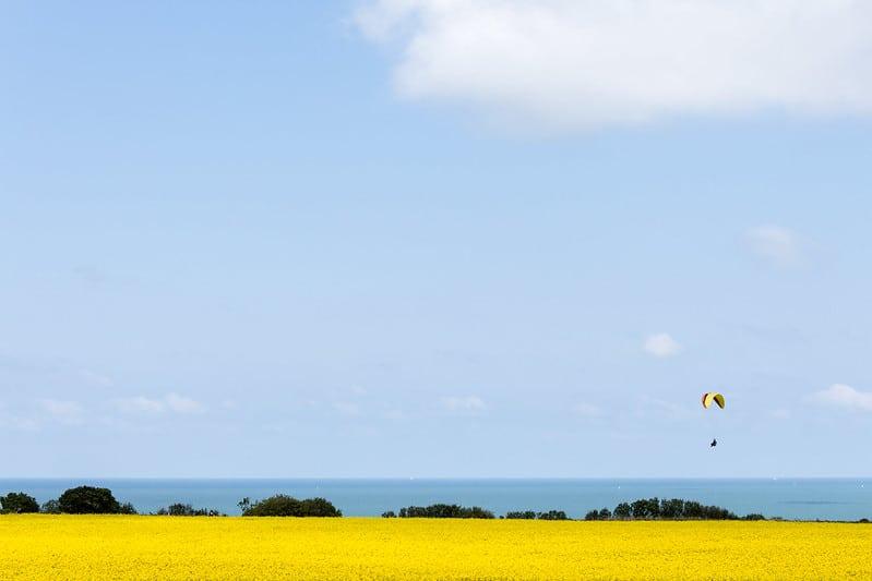 Parapente, parachute, hélicoptère