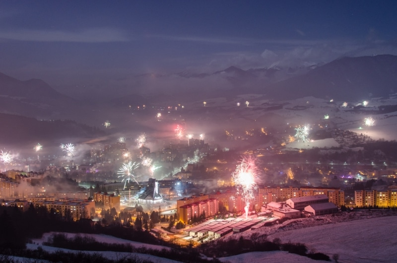 Slovaquie, fête du jour de l'an neige