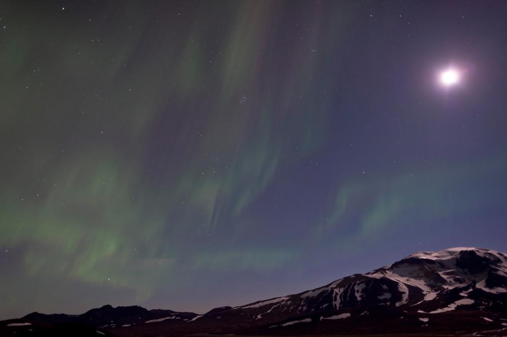 Aurore boréale à Snæfell, Islande