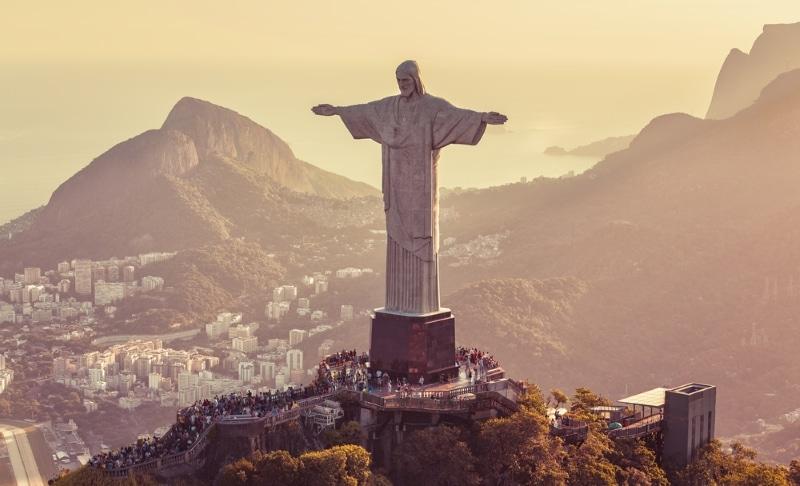 corcovado christ redempteur vue coucher soleil