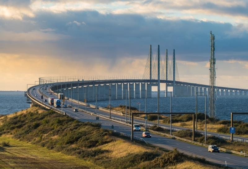 danemark pont geant coucher soleil