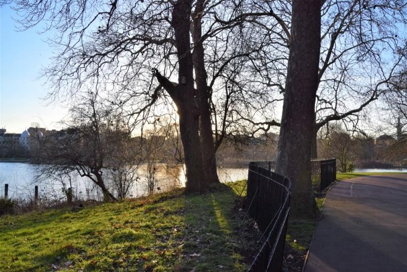 hamstead heath banlieue londres parc et lac coucher de soleil