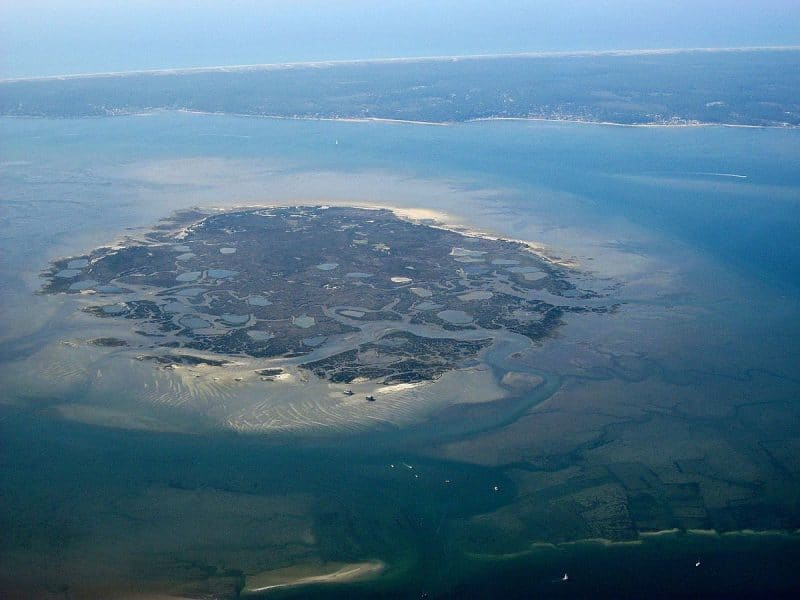 Vue aérienne de l'Île aux Oiseaux, Arcachon