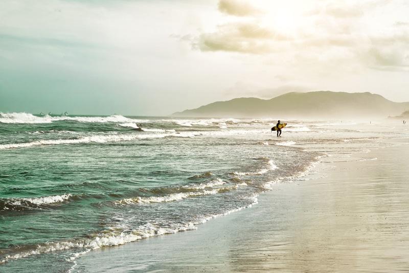 Plage, surfeur, Florianopolis, Brésil