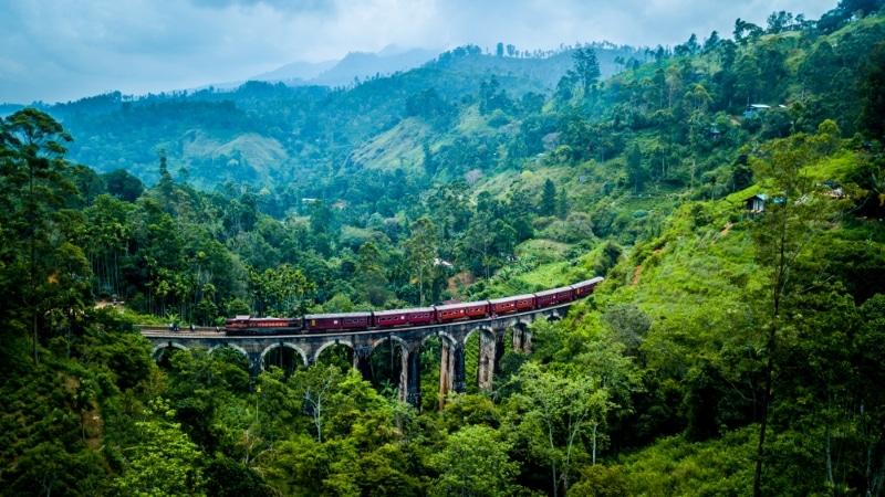 pont des 9 arches train au milieu de la jungle sri lanka