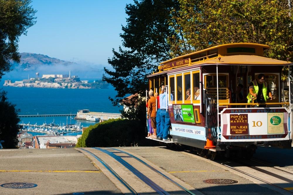 san francisco cable car vue sur la baie ville ecologique