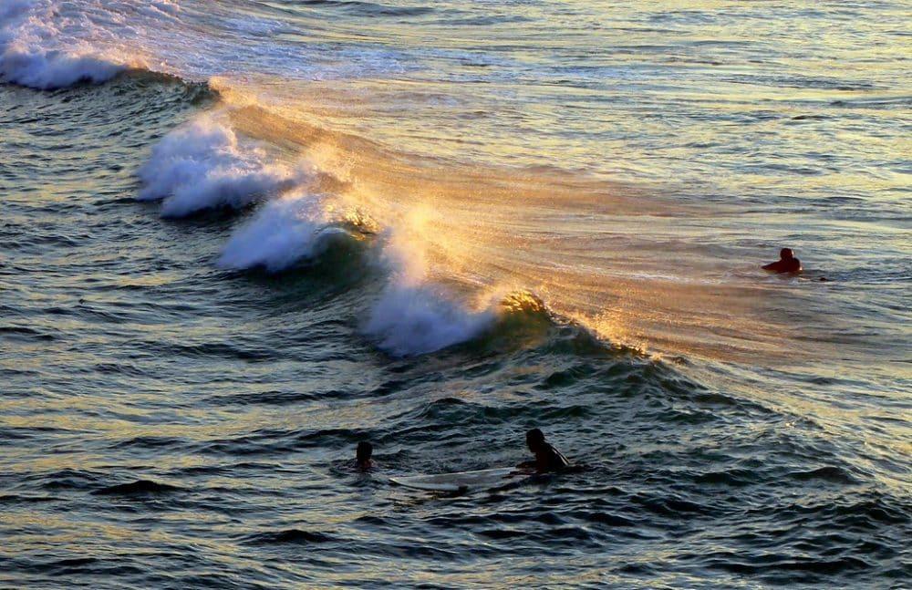 surfeurs, coucher de soleil, san sebastian