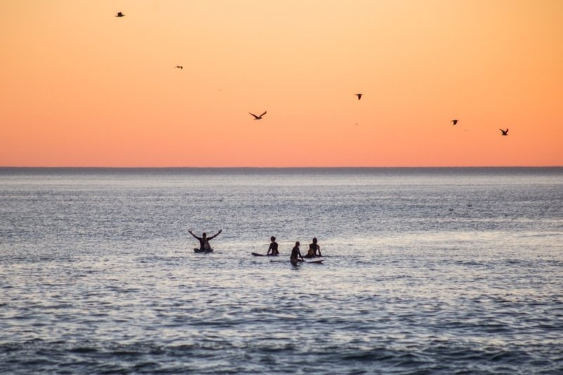 surfeurs a moliets coucher de soleil