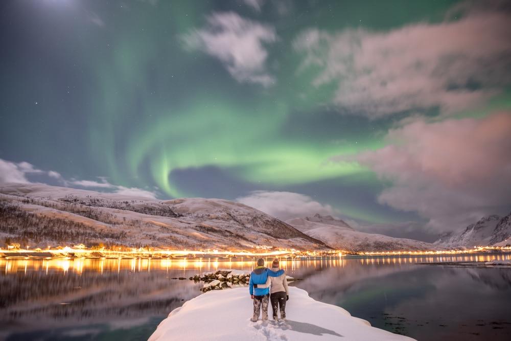 Tromsø, couple, aurore boréale, Norvège
