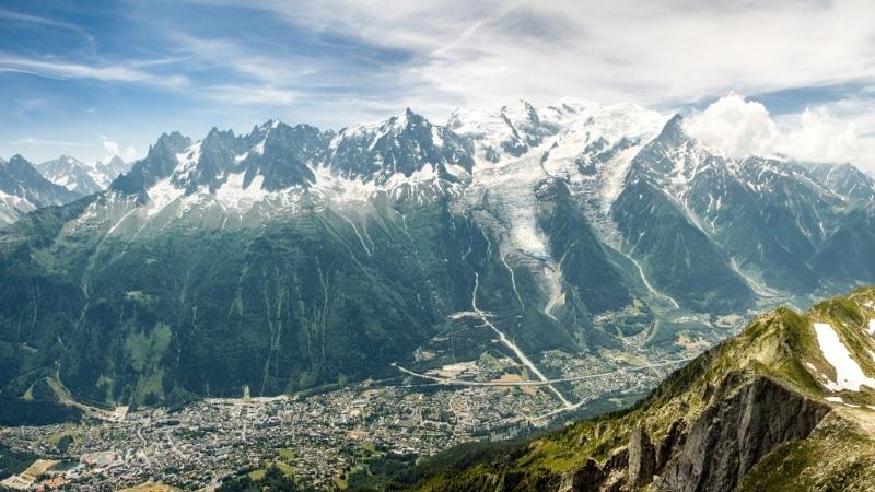 vue chamonix et mont blanc depuis le brevent escalade