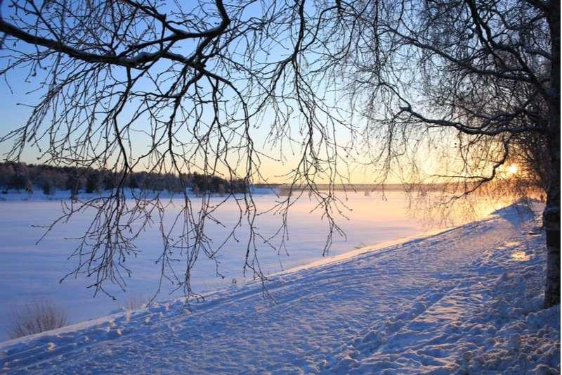 Neige sur Kemijoki river, Finlande