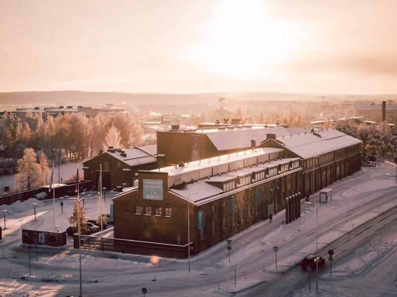 Vue aérienne du musée Korundi, Finlande
