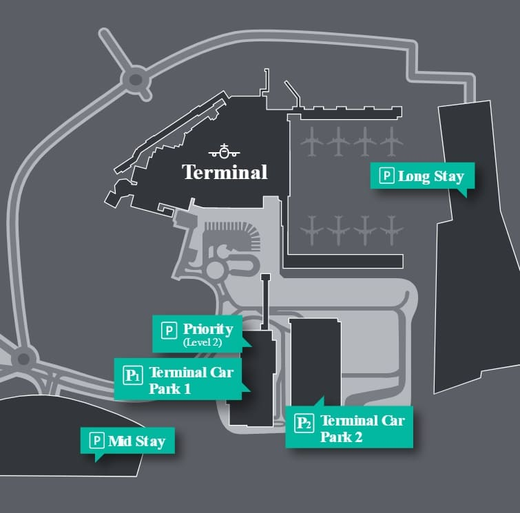 Plan des parkings de l'aéroport Londres Luton