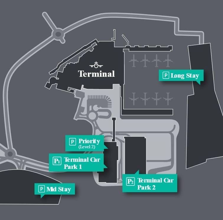 Plan des parkings de l'aéroport Londres Luton