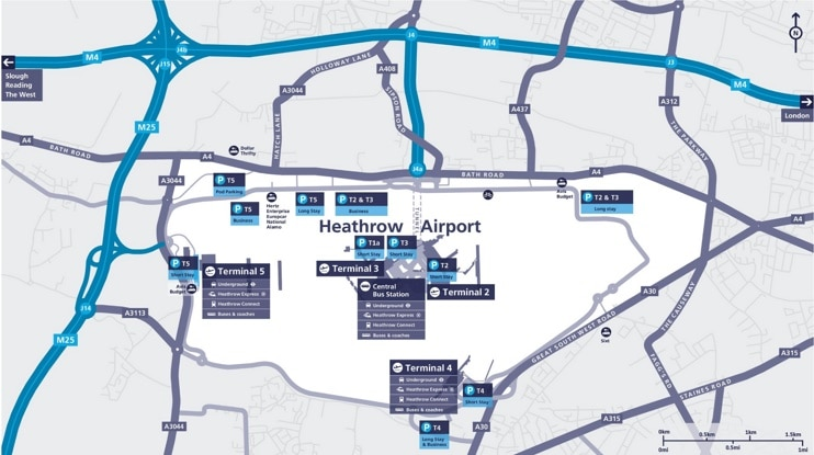 Plan aéroport Londres Heathrow