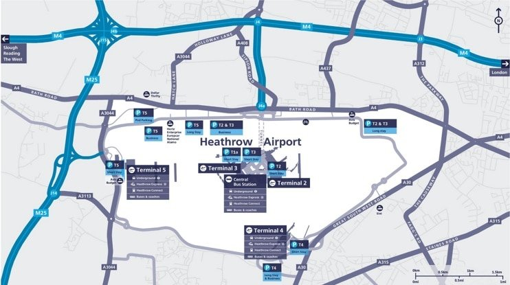 Plan aéroport Londres Heathrow