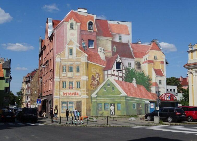 Fresque trompe l'oeil à srodka, Poznan