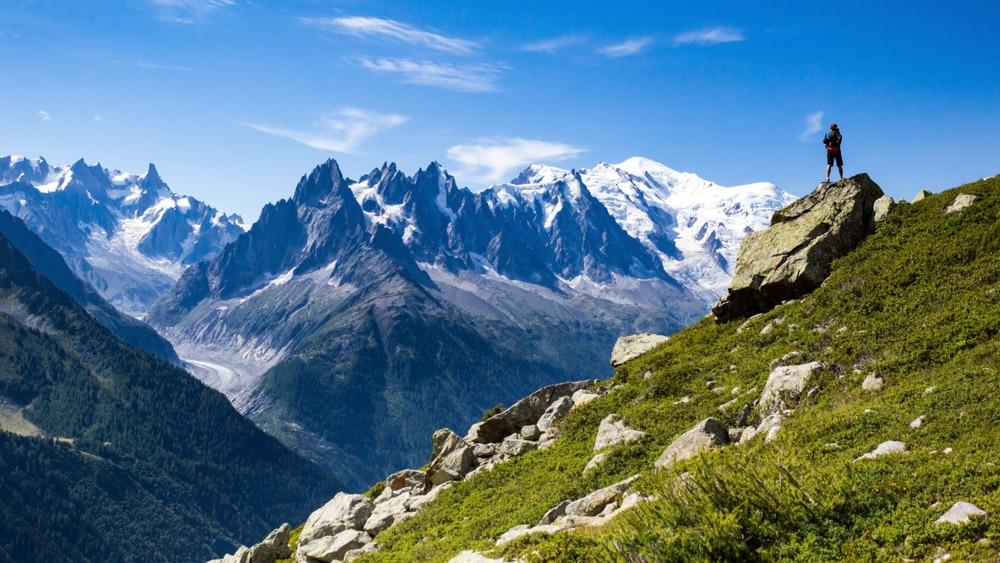 Randonneur au Mont-Blanc