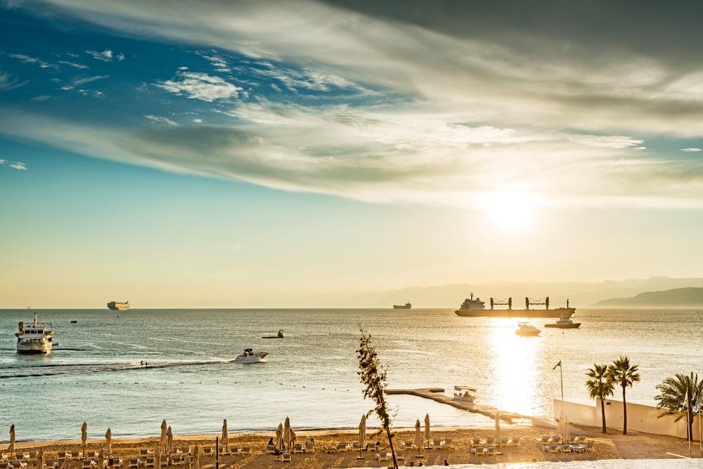 Aqaba, port, mer rouge, Jordanie