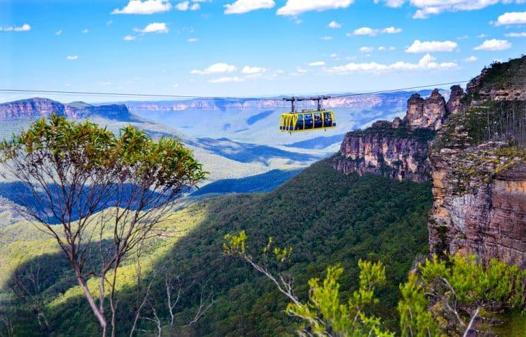 Forêt de pluie de Skyrail Paysage de cableway dans Blue Mountains, Australie