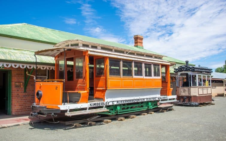 Kimberley, Free State, South Africa - 26 Dec. 2019 A Tram that was used during the diamond rush. The tram is in a small old town at the Big Hole museum.