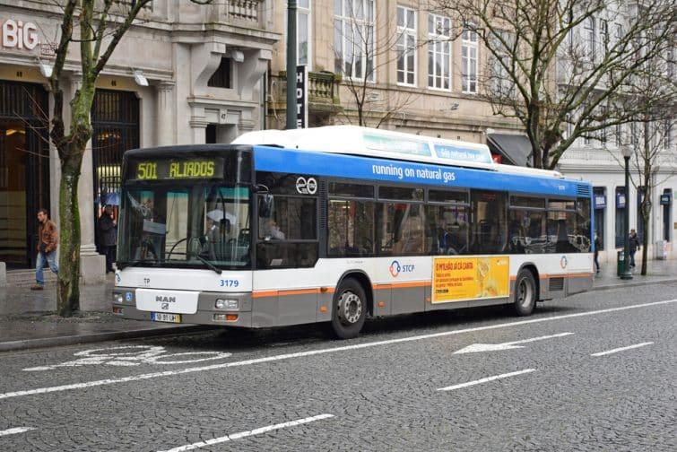 Porto, Portugal - February, 27, 2017 - CNG bus in Porto.