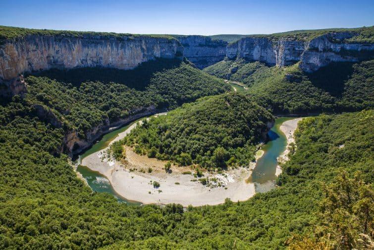 Le virage des Gorges de l'Ardèche