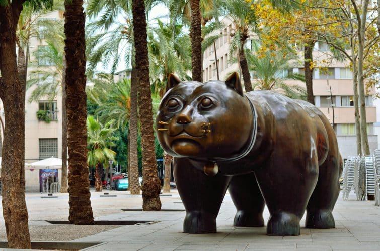 Sculpture de chat à El Raval