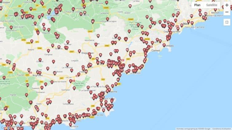 Carte Caramaps de la Côte d'Azur