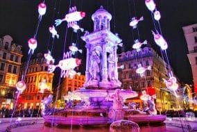 fête des lumières, place jacobins, Lyon, France