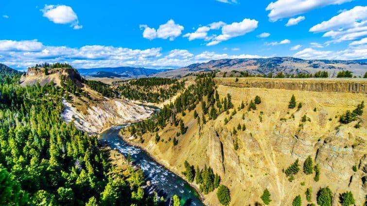 Vue sur la Parc national de Yellowstone, Etats-Unis