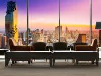 Hôtel avec vue panoramique et coucher de soleil sur Bangkok
