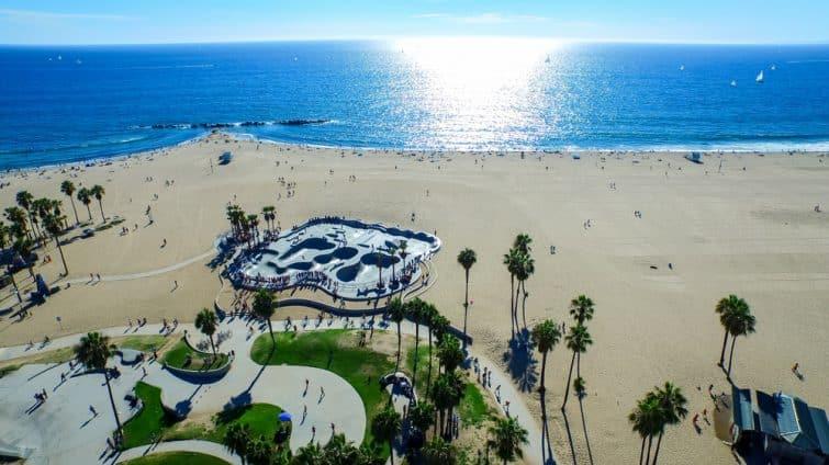 Vue aérienne de Venice Beach
