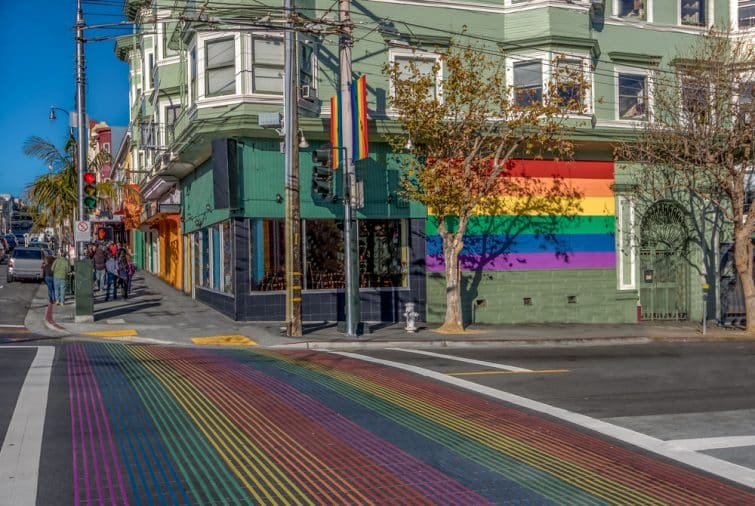 Le Rainbow Crosswalk à Castro, San Francisco