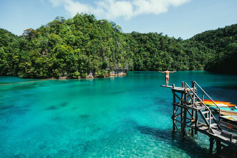 Vue sur la lagune de Sugba, Philippines
