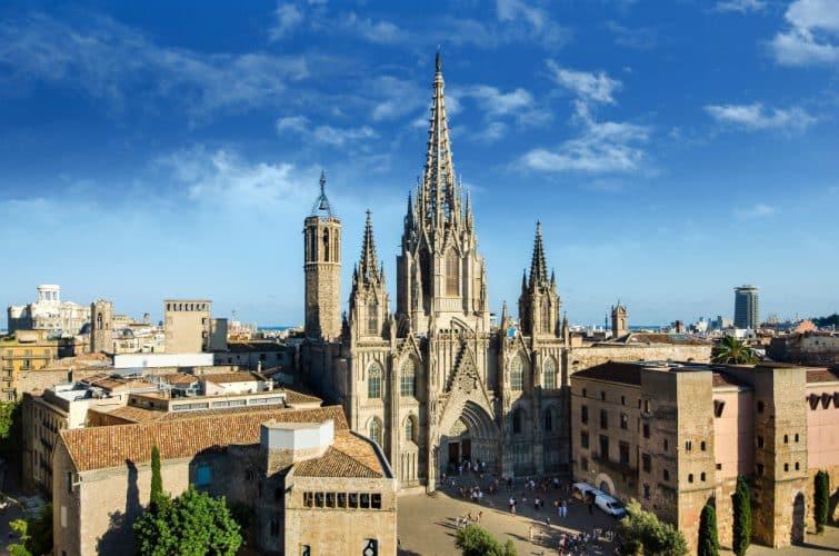 Vue sur la cathédrale Santa Creu, Barrio Gotic, Barcelone
