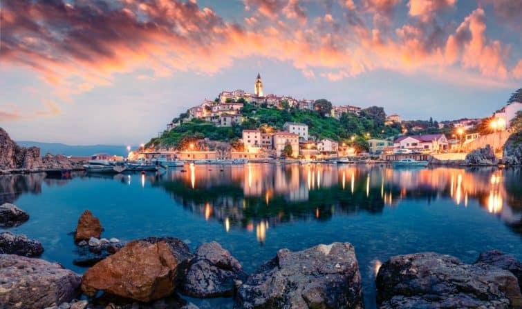 Magnifique vue sur Krk, Croatie